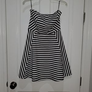 Express strapless black and white striped dress